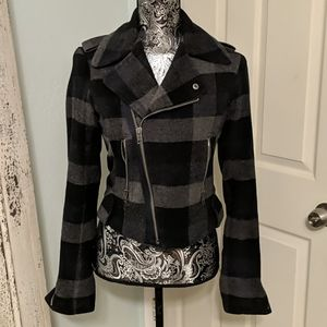 American Eagle Outfitters grey plaid Moto jacket